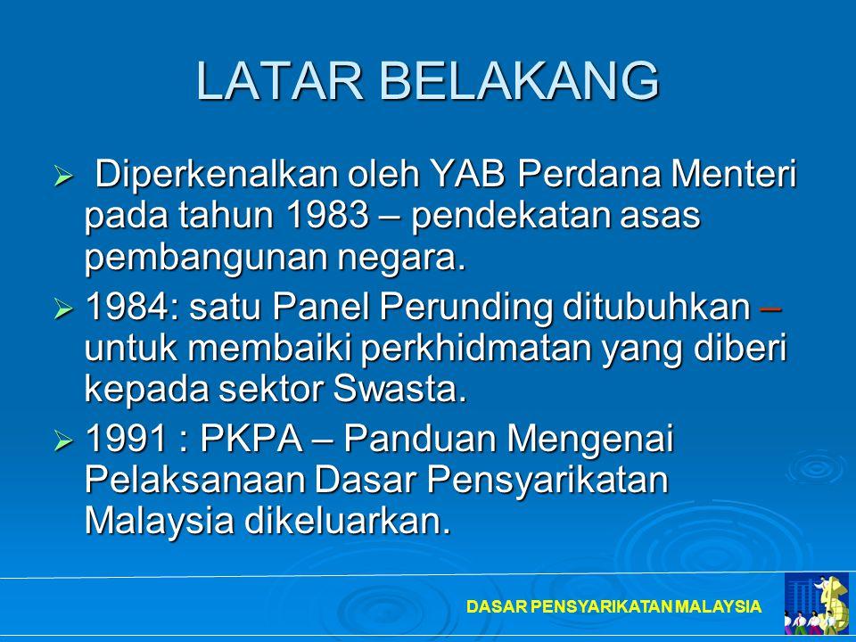 LATAR BELAKANG Diperkenalkan oleh YAB Perdana Menteri pada tahun 1983 – pendekatan asas pembangunan negara.