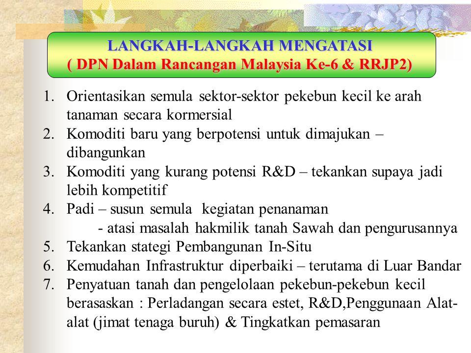 LANGKAH-LANGKAH MENGATASI ( DPN Dalam Rancangan Malaysia Ke-6 & RRJP2)