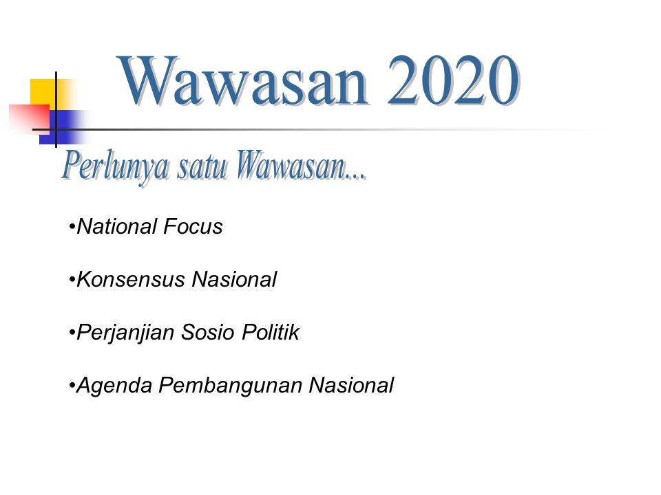 Wawasan 2020 Perlunya satu Wawasan... National Focus
