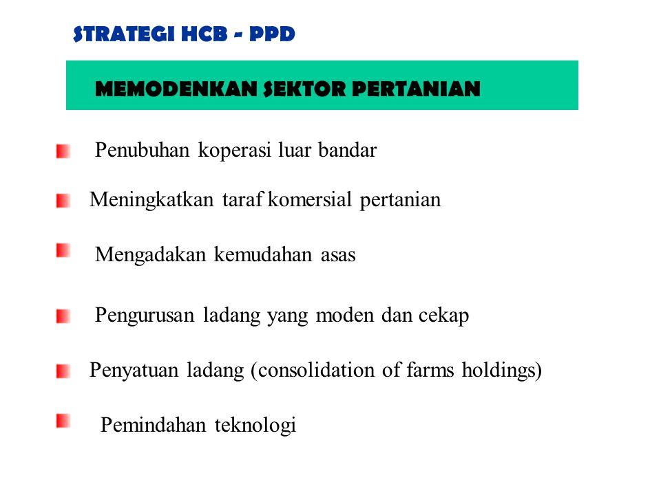 STRATEGI HCB - PPD MEMODENKAN SEKTOR PERTANIAN. Penubuhan koperasi luar bandar. Meningkatkan taraf komersial pertanian.