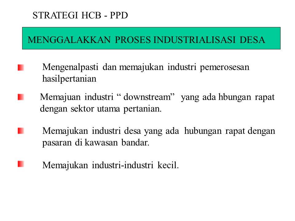 STRATEGI HCB - PPD MENGGALAKKAN PROSES INDUSTRIALISASI DESA. Mengenalpasti dan memajukan industri pemerosesan hasilpertanian.