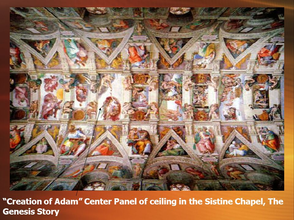 Ceiling illustrates the Genesis story, first book of the Bible