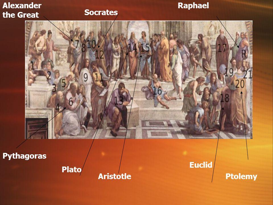 Alexander the Great Raphael Socrates Pythagoras Euclid Plato Aristotle
