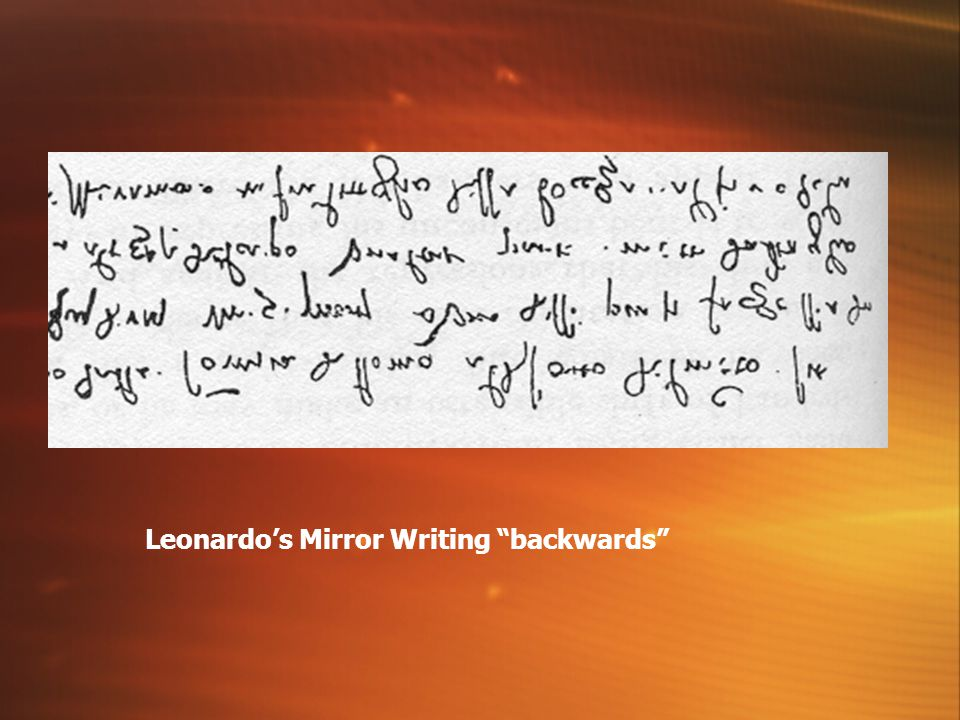 Leonardo's Mirror Writing backwards