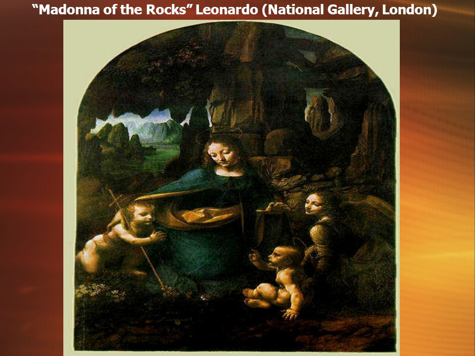 Madonna of the Rocks Leonardo (National Gallery, London)‏