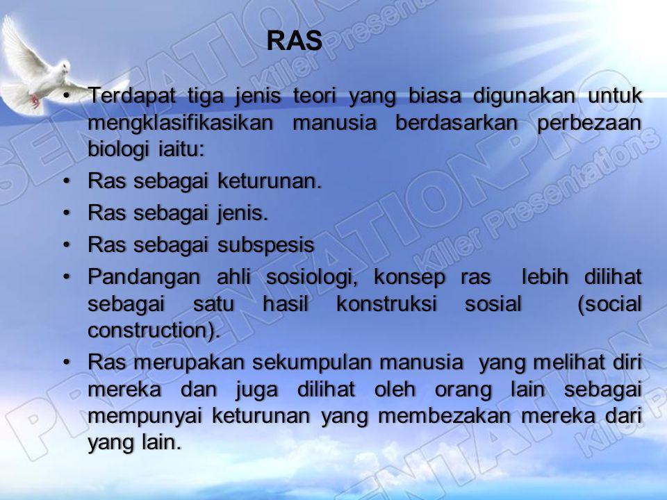 RAS Terdapat tiga jenis teori yang biasa digunakan untuk mengklasifikasikan manusia berdasarkan perbezaan biologi iaitu: