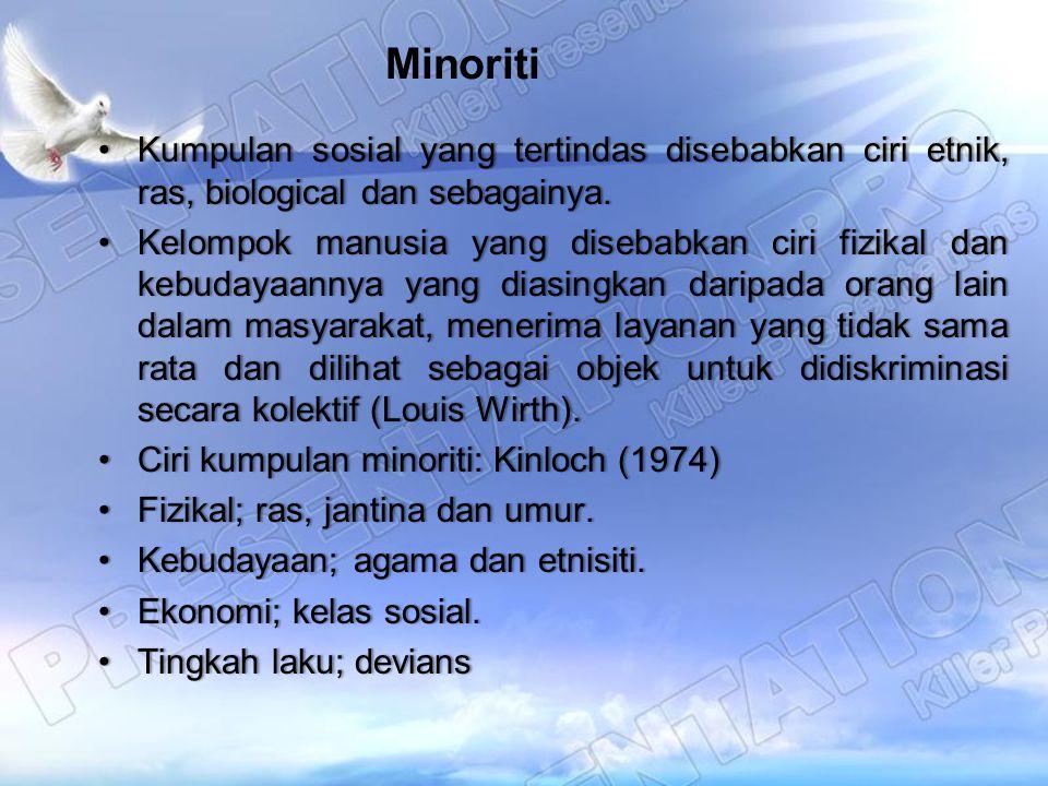 Minoriti Kumpulan sosial yang tertindas disebabkan ciri etnik, ras, biological dan sebagainya.