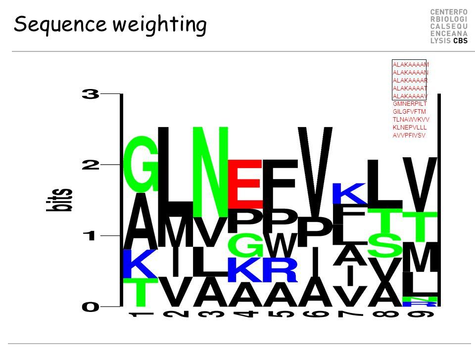Sequence weighting ALAKAAAAM ALAKAAAAN ALAKAAAAR ALAKAAAAT ALAKAAAAV