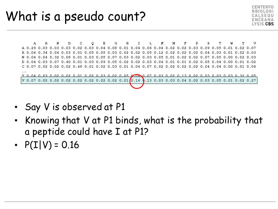 What is a pseudo count Say V is observed at P1