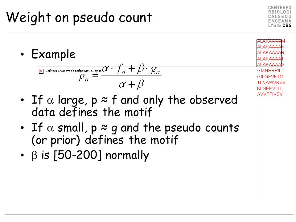Weight on pseudo count Example