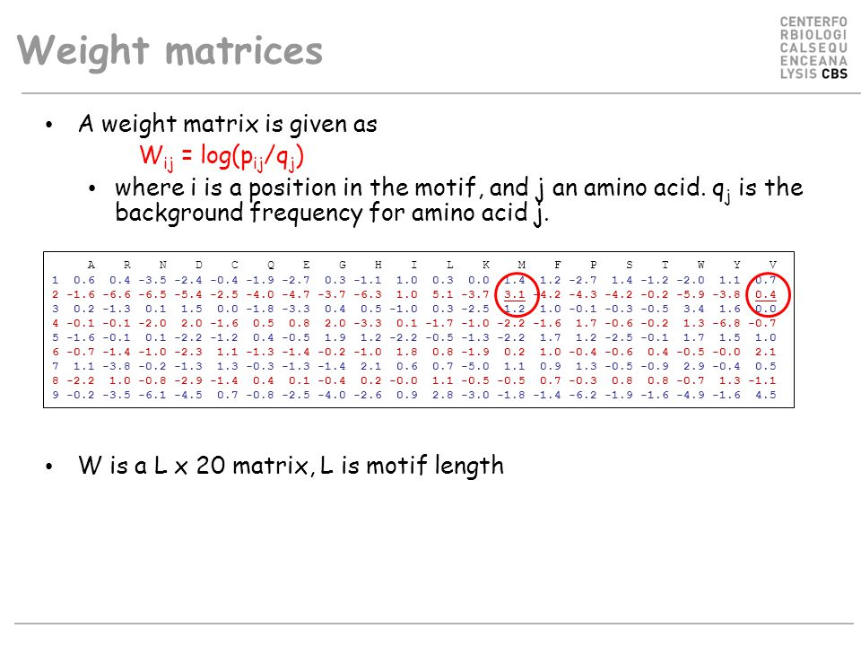 Weight matrices A weight matrix is given as Wij = log(pij/qj)