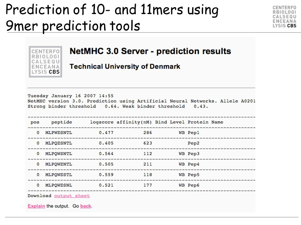 Prediction of 10- and 11mers using 9mer prediction tools