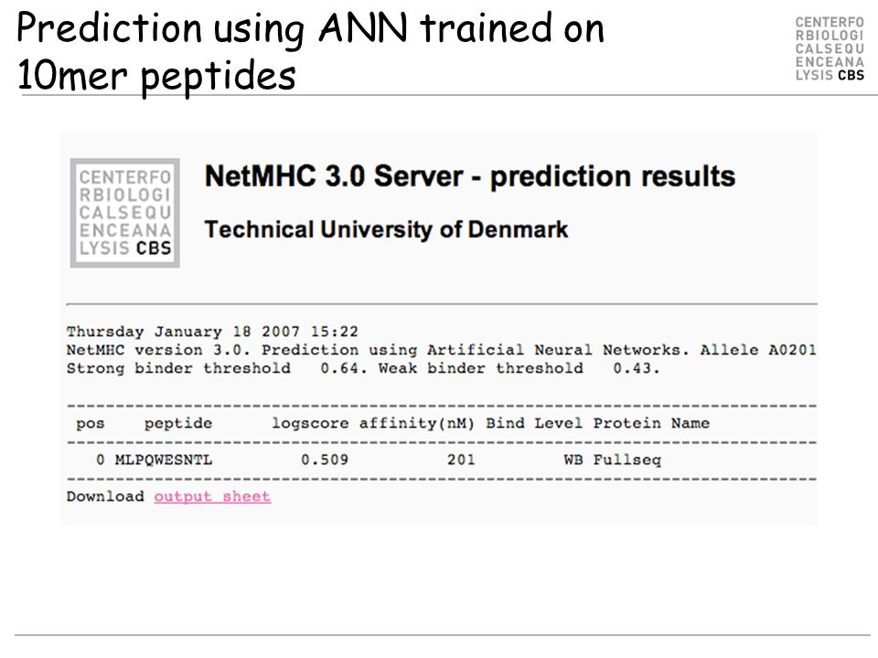 Prediction using ANN trained on 10mer peptides