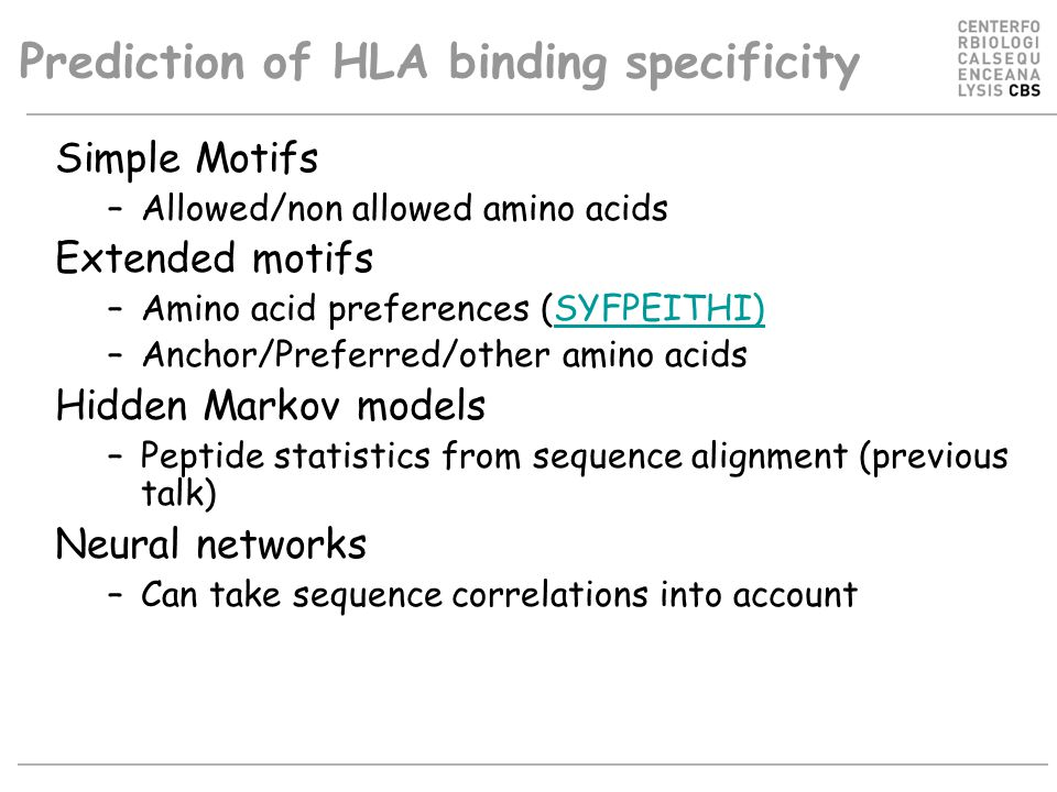 Prediction of HLA binding specificity