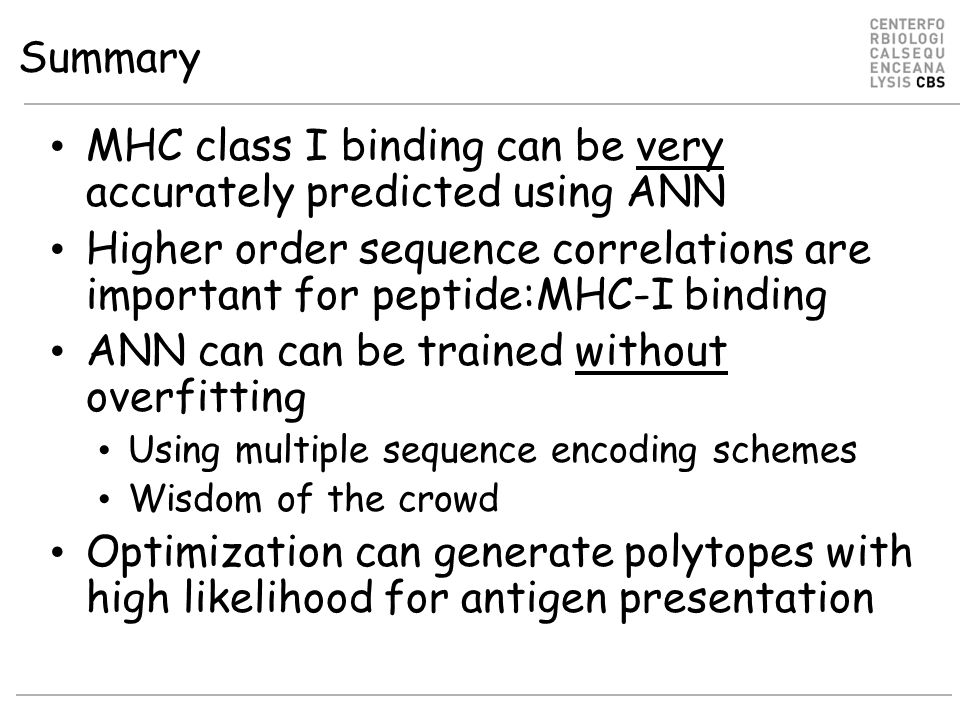 MHC class I binding can be very accurately predicted using ANN