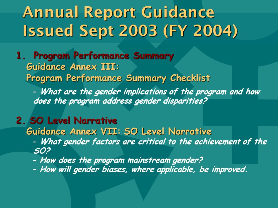 Annual Report Guidance Issued Sept 2003 (FY 2004)