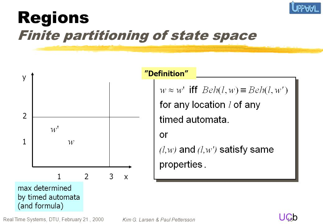 Regions Finite partitioning of state space