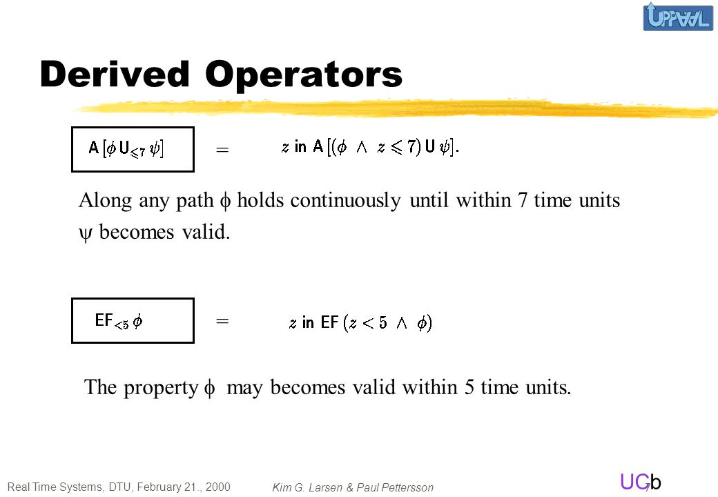 Derived Operators = Along any path f holds continuously until within 7 time units. y becomes valid.