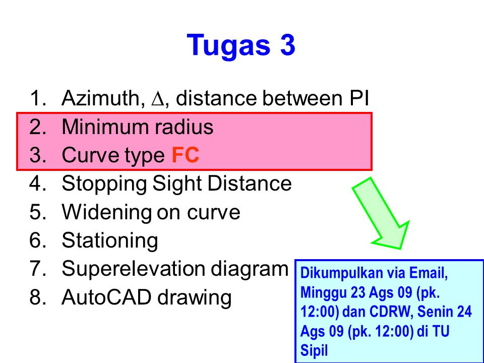 Tugas 3 Azimuth, D, distance between PI Minimum radius Curve type FC