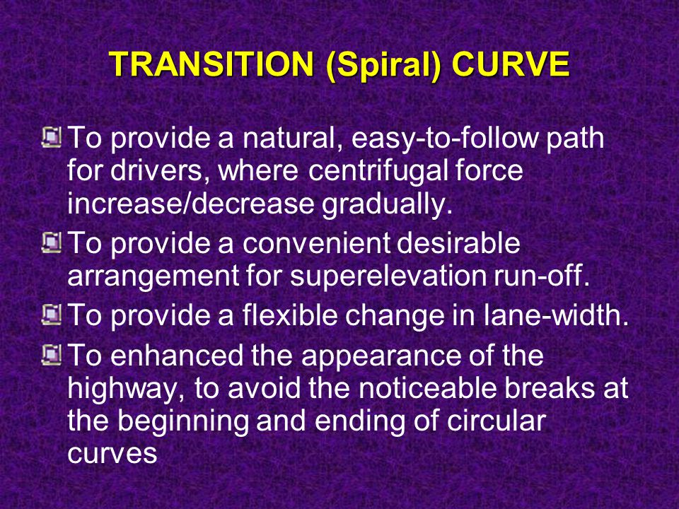 TRANSITION (Spiral) CURVE