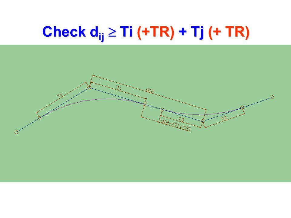 Check dij  Ti (+TR) + Tj (+ TR)