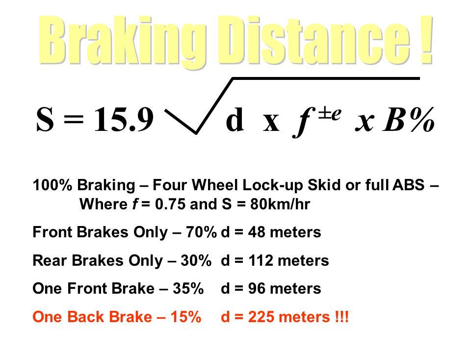 S = 15.9 d x f ±e x B% Braking Distance !