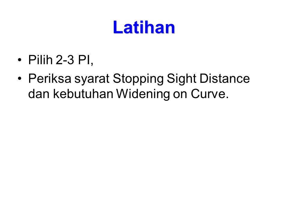 Latihan Pilih 2-3 PI, Periksa syarat Stopping Sight Distance dan kebutuhan Widening on Curve.