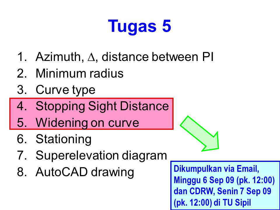 Tugas 5 Azimuth, D, distance between PI Minimum radius Curve type