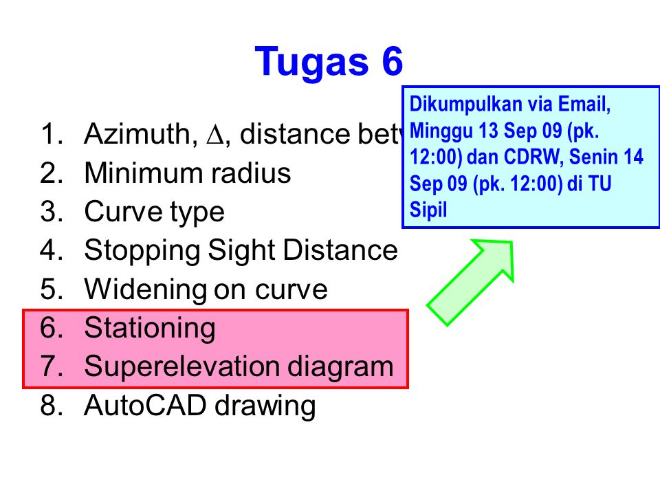 Tugas 6 Azimuth, D, distance between PI Minimum radius Curve type