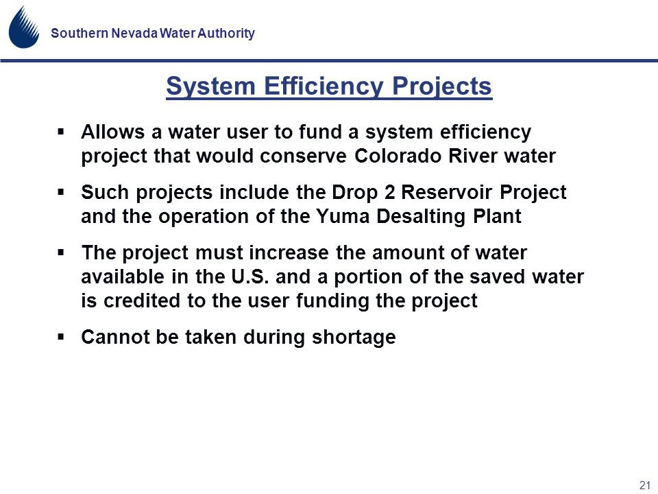 System Efficiency Projects