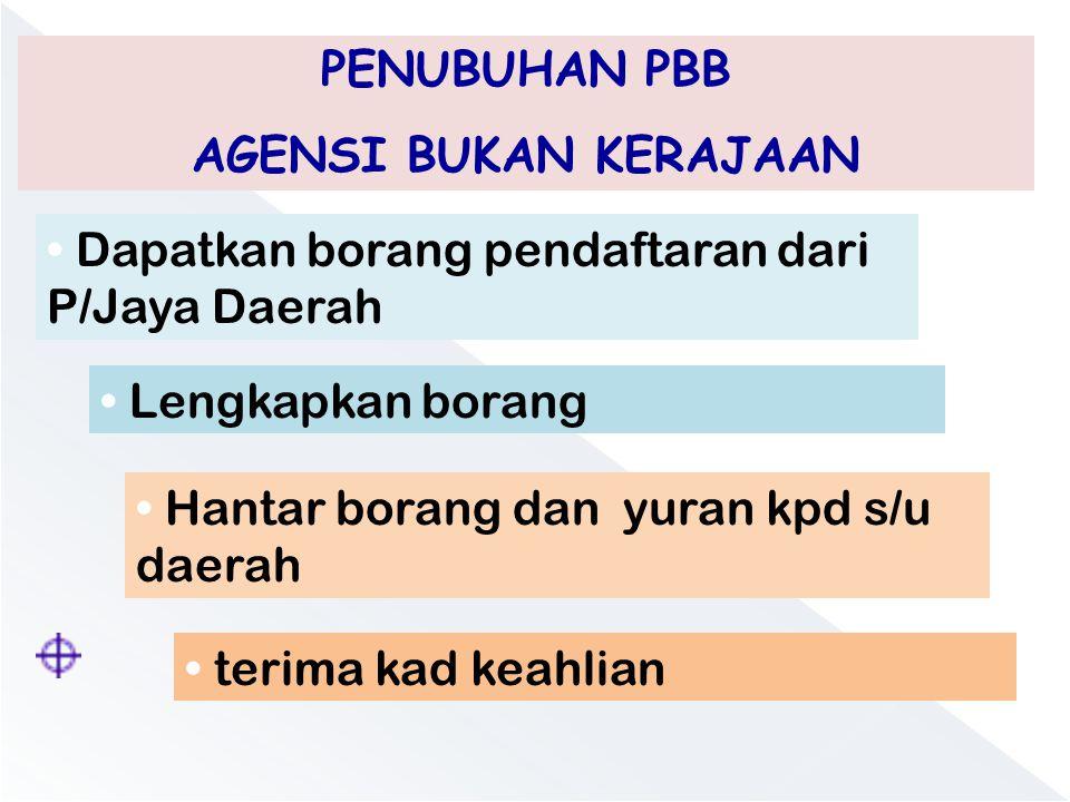 PENUBUHAN PBB AGENSI BUKAN KERAJAAN. Dapatkan borang pendaftaran dari P/Jaya Daerah. Lengkapkan borang.