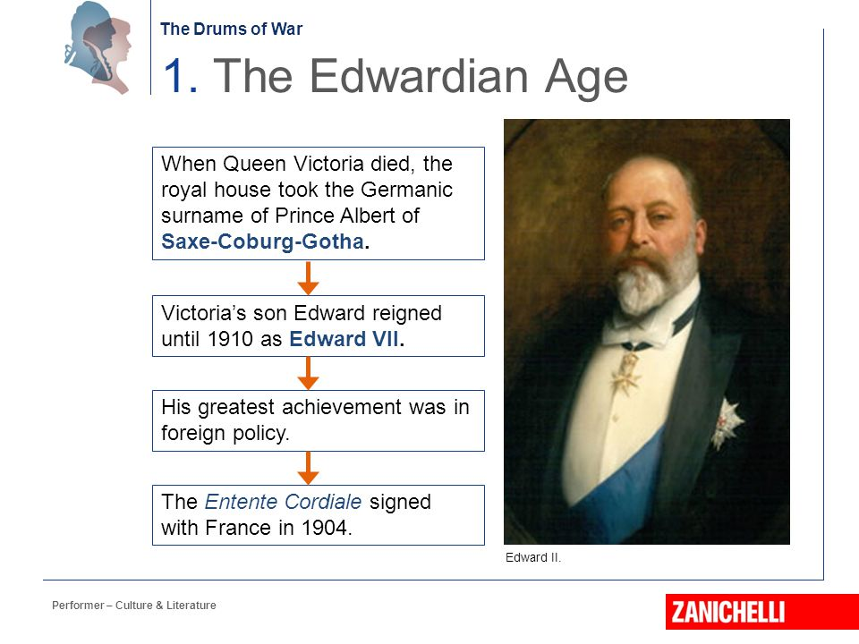 1. The Edwardian Age When Queen Victoria died, the royal house took the Germanic surname of Prince Albert of Saxe-Coburg-Gotha.