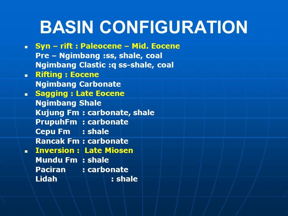 BASIN CONFIGURATION Syn – rift : Paleocene – Mid. Eocene