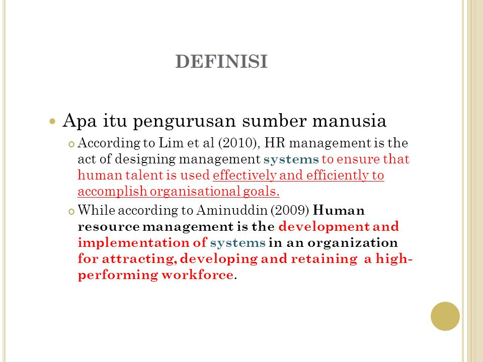definisi Apa itu pengurusan sumber manusia