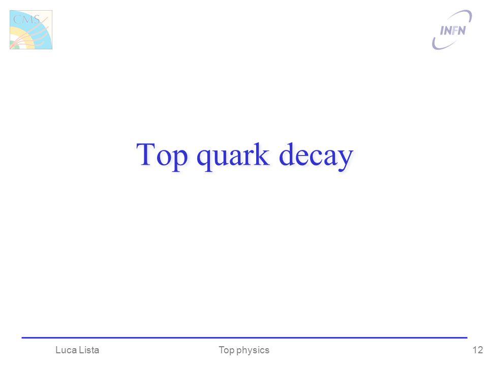 Top quark decay Luca Lista Top physics
