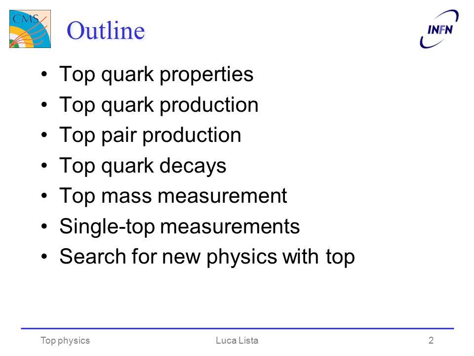 Outline Top quark properties Top quark production Top pair production