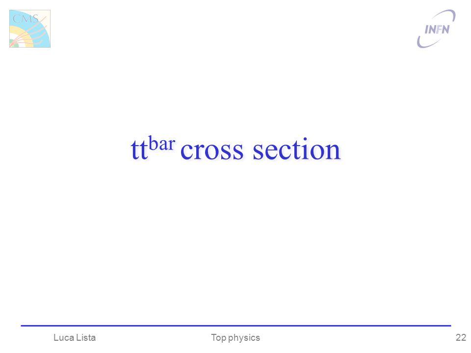 ttbar cross section Luca Lista Top physics