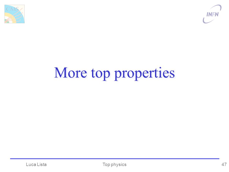 More top properties Luca Lista Top physics