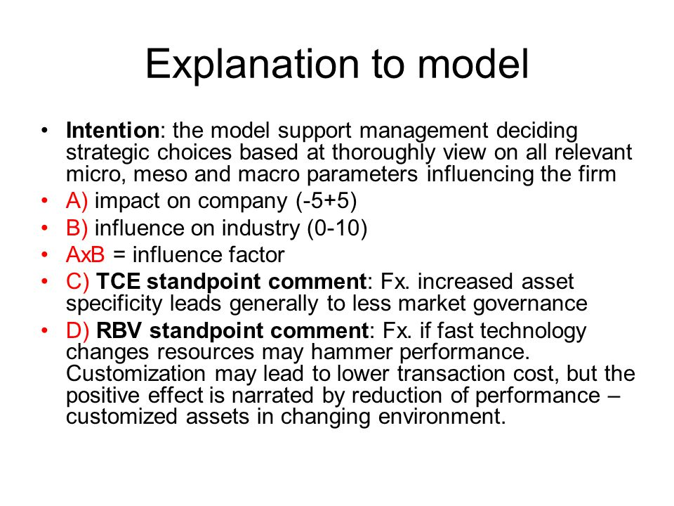 Explanation to model