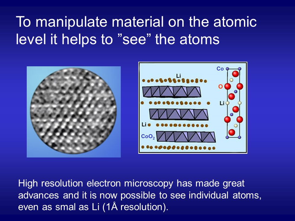 To manipulate material on the atomic level it helps to see the atoms