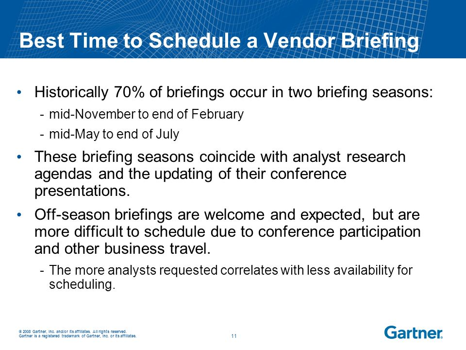 Best Time to Schedule a Vendor Briefing