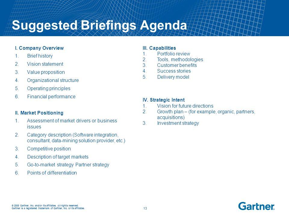 Suggested Briefings Agenda