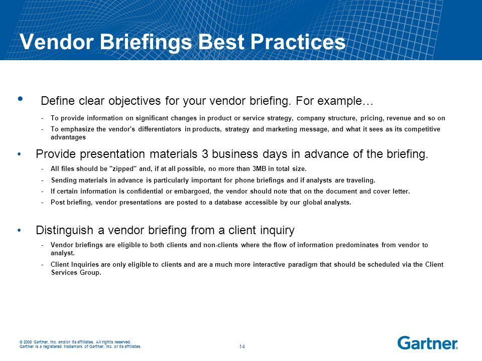 Vendor Briefings Best Practices