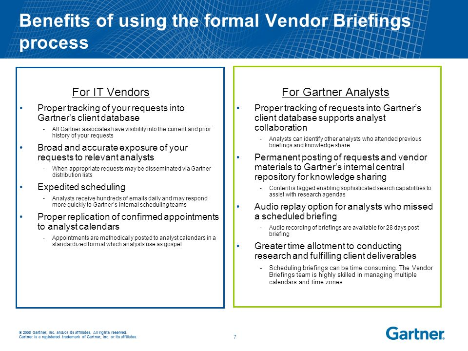 Benefits of using the formal Vendor Briefings process