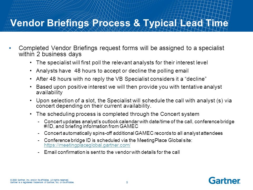 Vendor Briefings Process & Typical Lead Time