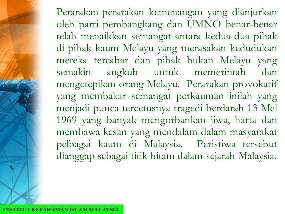 Perarakan-perarakan kemenangan yang dianjurkan oleh parti pembangkang dan UMNO benar-benar telah menaikkan semangat antara kedua-dua pihak di pihak kaum Melayu yang merasakan kedudukan mereka tercabar dan pihak bukan Melayu yang semakin angkuh untuk memerintah dan mengetepikan orang Melayu. Perarakan provokatif yang membakar semangat perkauman inilah yang menjadi punca tercetusnya tragedi berdarah 13 Mei 1969 yang banyak mengorbankan jiwa, harta dan membawa kesan yang mendalam dalam masyarakat pelbagai kaum di Malaysia. Peristiwa tersebut dianggap sebagai titik hitam dalam sejarah Malaysia.