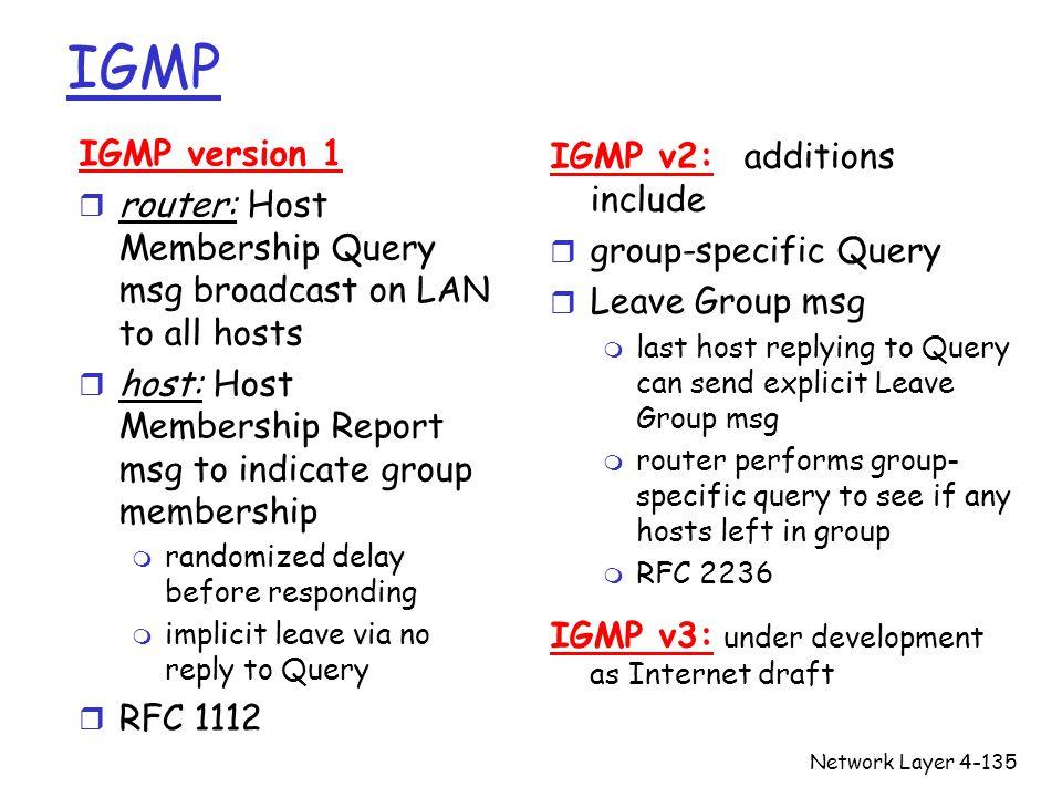 IGMP IGMP version 1 IGMP v2: additions include