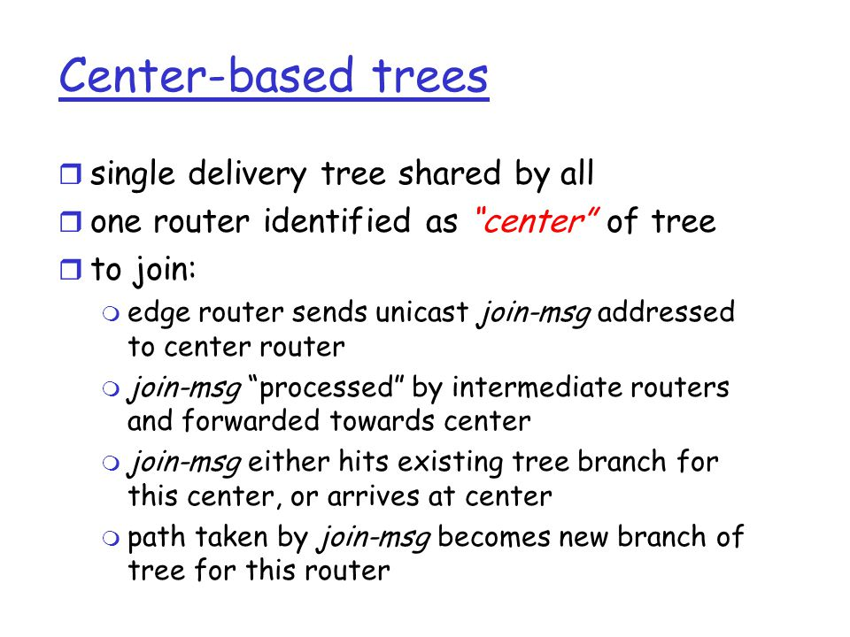 Center-based trees single delivery tree shared by all