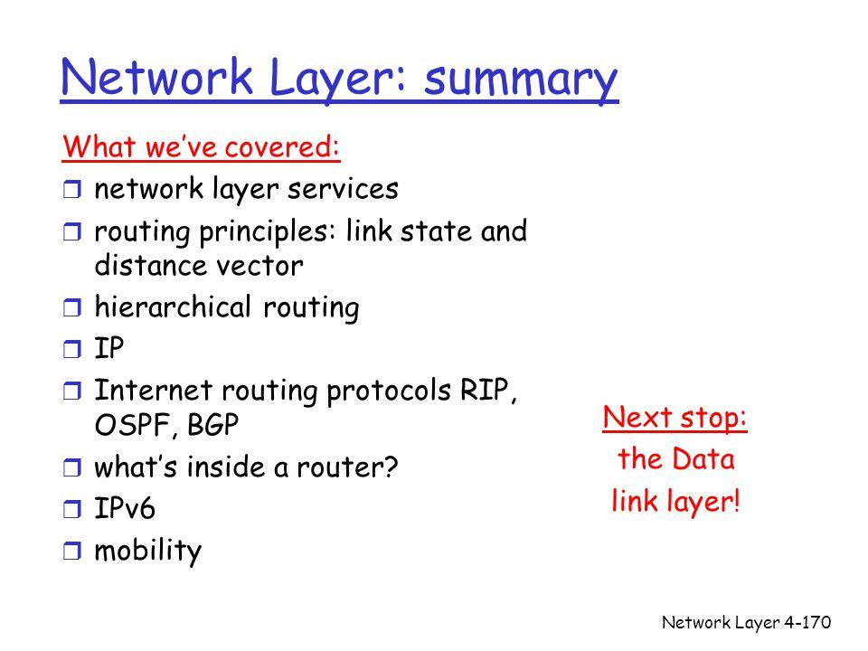Network Layer: summary