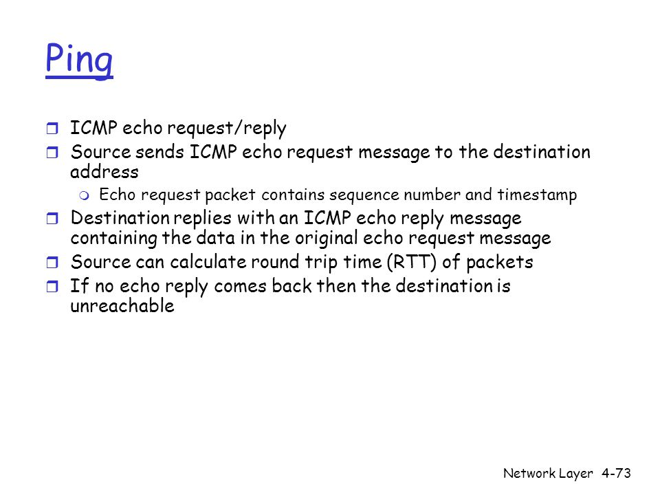 Ping ICMP echo request/reply